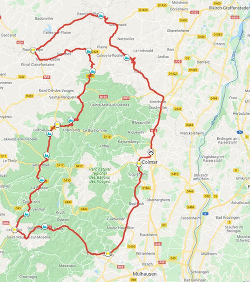 Motorradtour Vogesen-Winterendrunde, ca. 292 km © Pässe.Info, Karte Google Maps