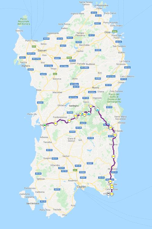 Oristano–Villasimius, ca. 256 km, Motorradtour Sardegna-quattro-giorni © Pässe.Info, Karte Google Maps
