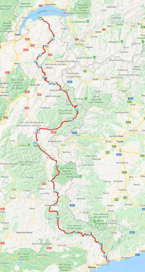 Route des Grandes Alpes, ca. 685 km © Pässe.Info, Karte Google Maps