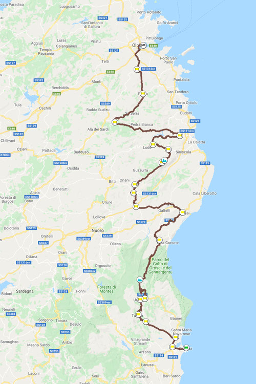 Arbatax–Olbia, ca. 258 km, Motorradtour Sardegna-quattro-giorni © Pässe.Info, Karte Google Maps