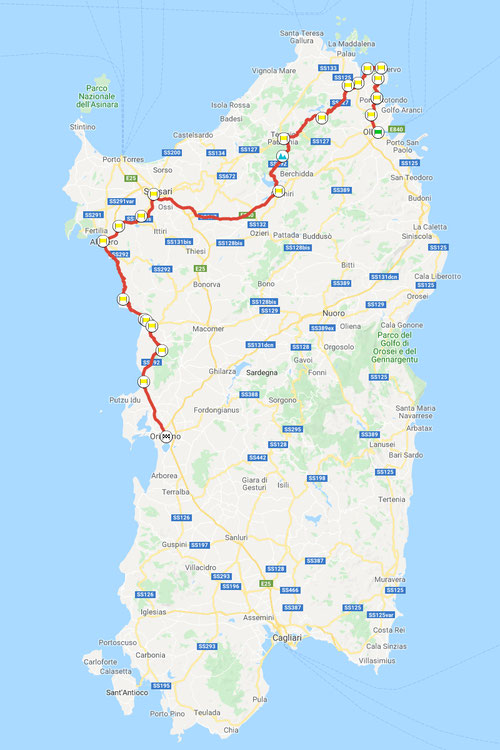Olbia–Oristano, ca. 318 km, Motorradtour Sardegna-quattro-giorni © Pässe.Info, Karte Google Maps