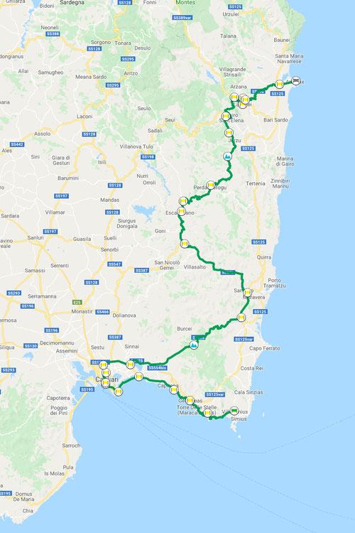 Villasimius–Arbatax, ca. 242 km, Motorradtour Sardegna-quattro-giorni © Pässe.Info, Karte Google Maps