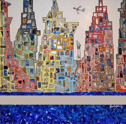 New York, New York / Mix media on canvas (acrylic, gel and hundreds Credit Cards cut in geometric slices and sizes) / 48 x 36 inches.