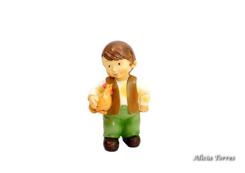 Pastor con gallina, de la colección Naif