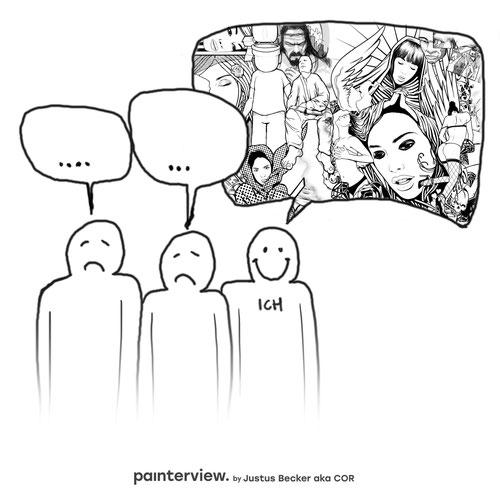 """Das painterview mit Justus Becker. Frage: """"Was gefällt Dir am Künstlersein?"""" #painterview #artikoo"""