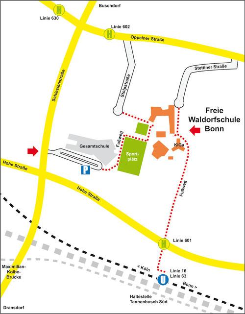 Anfahrt Freie Waldorfschule Bonn