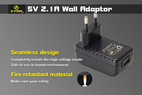 Сетевое зарядное устройство с USB выходом  XTAR (2,1А)