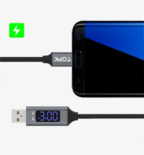 Кабель USB с тестером TOPK