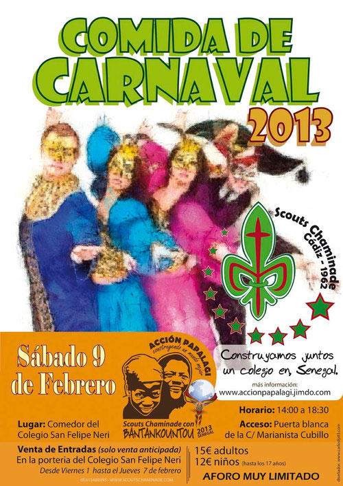 Cartel a color Comida de carnaval solidaria