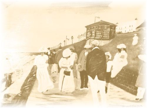 """Borkum -Strandpromenade-  um 19. Jahrhundert  """"Inselmaler"""" Manfred Billmann"""