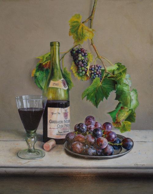 Stilleven met druiven en wijn  -  Olieverf op doek 50 x 60 cm