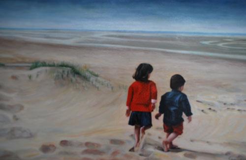 Kindjes op het strand  -  Olieverf op doek  120 x 60 cm