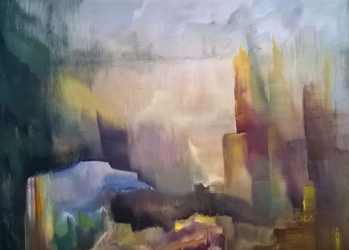 Abstractie zonder titel - Olieverf op doek  80 x 60 cm