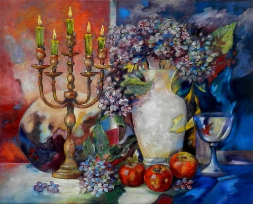 "Stilleven  "" Candle with candlelight ""  -  Olieverf op doek  100 x 80 cm"