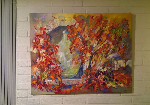Dame-Jeanne - Olieverf op doek  100 x 80 cm