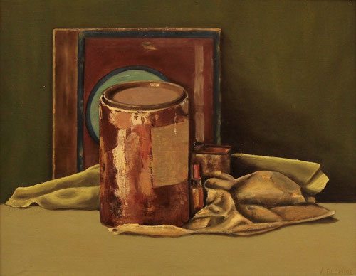 Stilleven met oude verfpot  -  Olieverf op paneel  50 x 60 cm