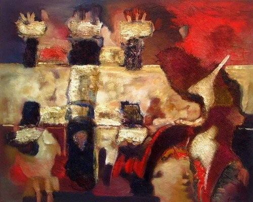 Dogon abstract / Mali  - Mixed media op doek  100 x 80 cm