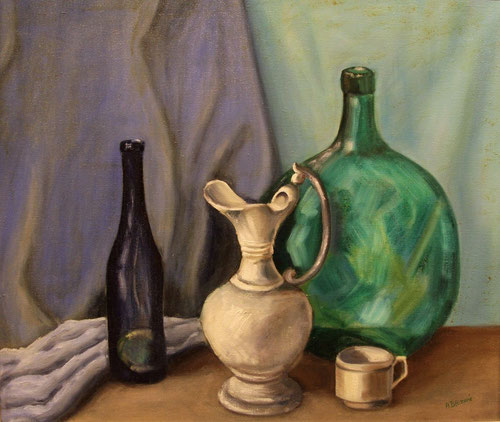 Stilleven / Wijnkruik - Olieverf op doek 50 x 60 cm