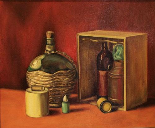 Stilleven / Wijn in mand -  Olieverf op paneel   50 x 60 cm