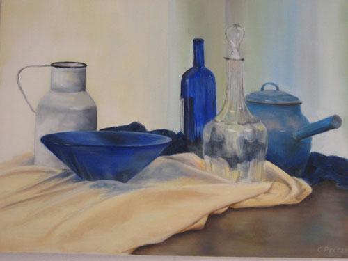 Stilleven / Blauw  -  Olieverf op doek  60 x 80 cm