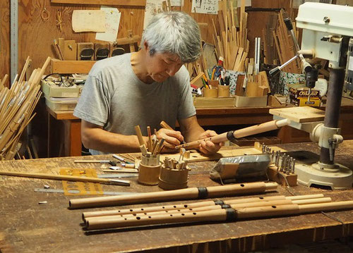 オリジナル木製横笛(継管)LowD製作中 ~指孔あけ~