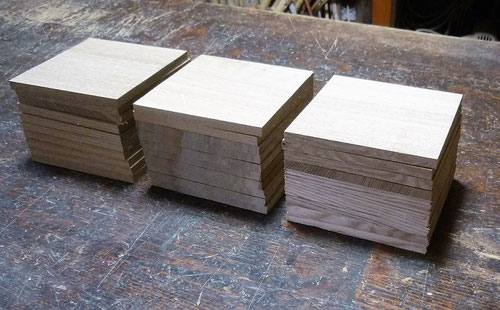 タモ材の9㎜板を正方形に切る