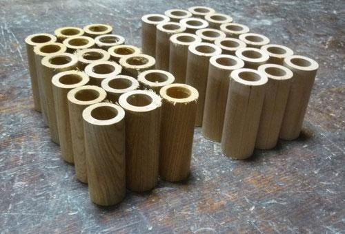 木のオカリナ ソプラノ管 アメリカンチェリー材とケヤキ材 筒穴あけ