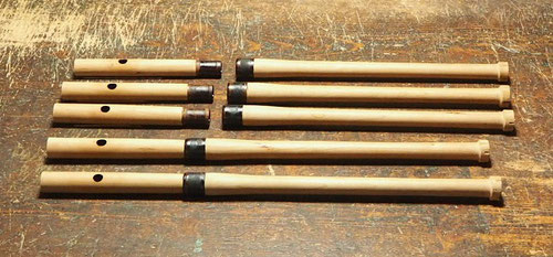 オリジナル木製横笛 継管LowD管 ~管内及びソケット部漆塗り~
