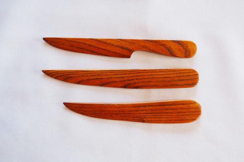 欅のペーパーナイフ 拭き漆仕上 3デザイン