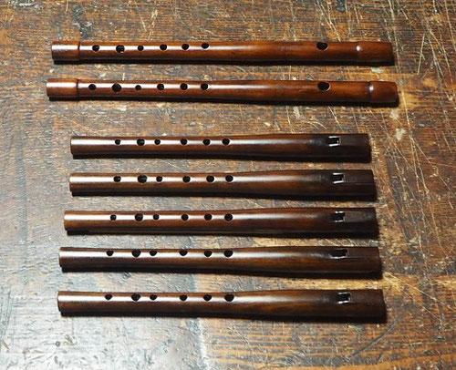 オリジナル横笛highD管(木製)とウッドホイッスルhighD管製作中