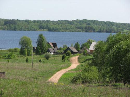 Деревня Новинка на озере Стерж. Вид от часовни.