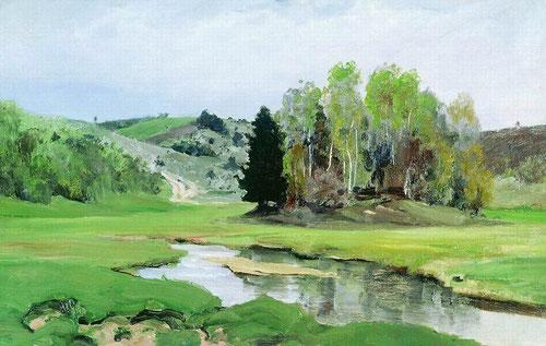 Русский художник Василий Поленов. Река Свинка близ Алексина