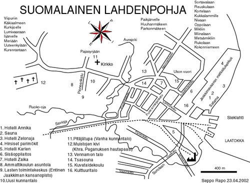 Финская схема улиц города Лахденпохья