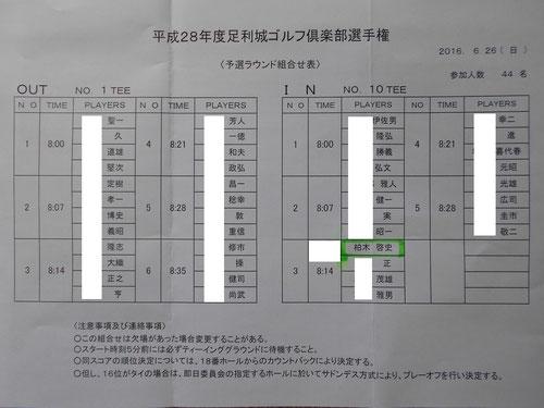 足利城ゴルフ倶楽部2016年倶楽部選手権予選組み合わせ