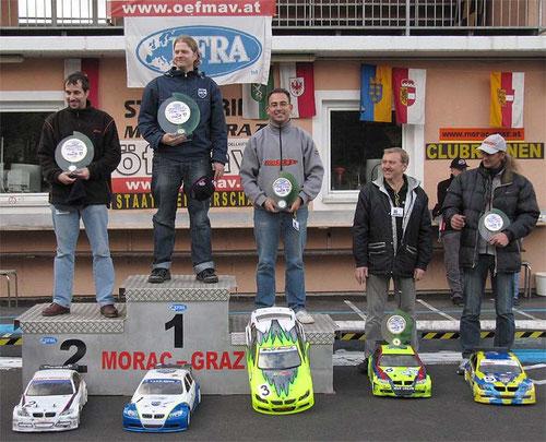 Sieger Tourenwagen 1:5 1. Platz: Michael Weiser, A 2. Platz: Andreas Haslinger, A 3. Platz: Gergely Cseskö, H 4. Platz: Wolfgang Schertler, A 5. Platz: Rudolf Zitz, A