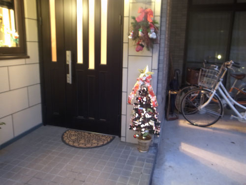 夜になると、クリスマスツリーがひかります。LEDでキレイですよ〜