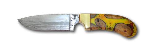 Jagdmesser, wilder Damast, Heft Hybridholz mit Efeu