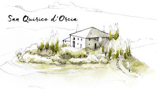 VAL D'ORCIA TOSCANE ILLUSTRATION JDAN MARCELLOOO.FR BLOG VOYAGE ITALIE CYPRES COLLINES CAMPAGNE TOSCANE