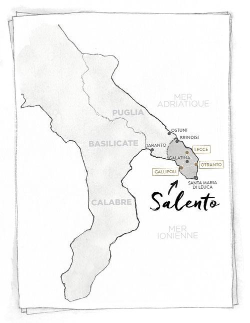 CARTE POUILLES SALENTO MARCELLOOO.FR BLOG VOYAGE ITALIE PUGLIA LECCE GALLIPOLI OTRANTO GALATINA BRINDISI