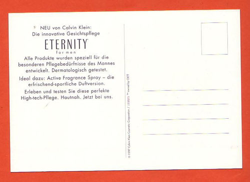 ETERNITY FOR MEN - CARTE ALLEMANDE - VERSO