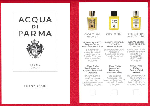 ACQUA DI PARMA - LE COLONIE : CARTE PRESENTEE RECTO & VERSO