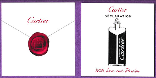 CARTIER DECLARATION -WITH LOVE AND PASSION - PHOTO RECTO & VERSO