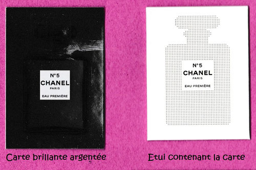 CHANEL N° 5 EAU PREMIERE - CARTE BRILLANTE AVEC PATCH AU VERSO DANS SON ETUI - RECTO