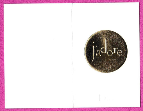 J'ADORE : DOUBLE CARTE PRESENTEE OUVERTE