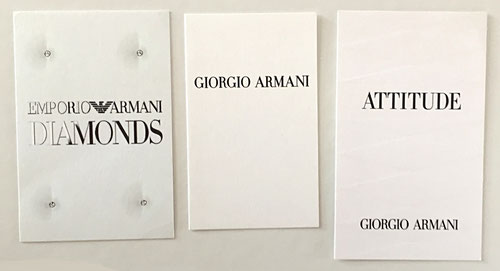 ARMANI - LOT DE 3 CARTES DIFFERENTES