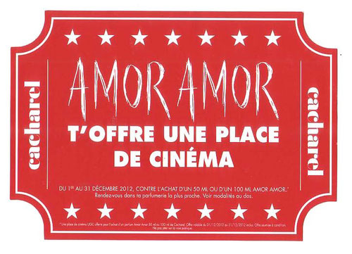 AMOR AMOR - NOËL 2012 - TICKET POUR UNE PLACE DE CINEMA : RECTO