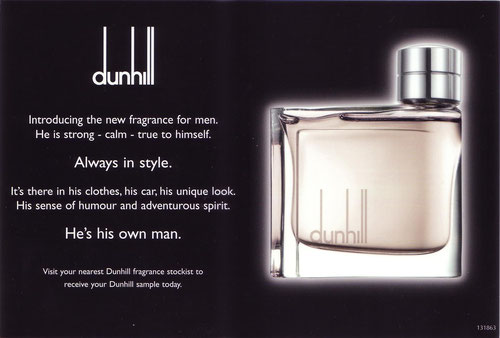 DUNHILL FOR MEN - GRANDE CARTE : VERSO