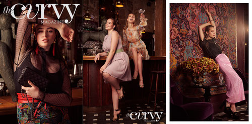 Fashion Editorial Cocktail Night with curvy model with colourful party looks
