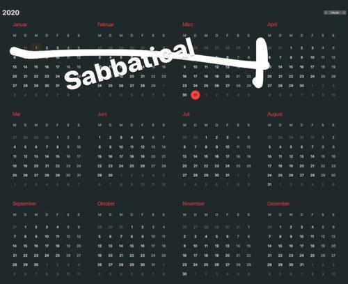 Kalenderansicht 2020 mit Eintrag Sabbatical