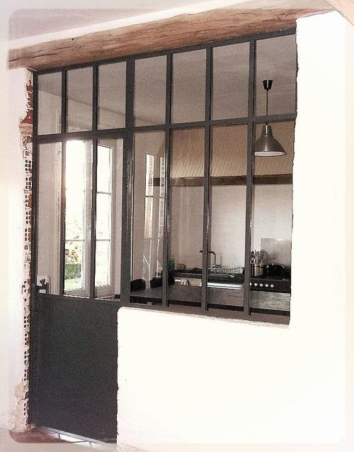 Fabrication de porte à la française type atelier sur mesure - Métal Bois Design